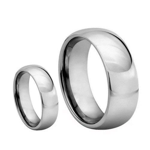 wedding-bands Free Engraving His & Her's 8mm/6mm Polished Shiny Domed Tungsten Carbide Ring Set (6mm Size 11 ; 8mm Size 11)