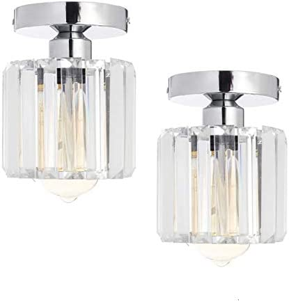 HMVPL Crystal Mount Pendant Lighting Fixtures,Modern Sparkly Semi Flush Close to Ceiling Light Chrome Mini Ceiling Lamp for Kitchen Island Dining Room Bedroom Foyer Hallway Set of 2