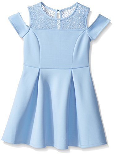 My Michelle Girls' Big Cold Shoulder Fit and Flare with Crochet Yoke, Periwinkle, 14 (Michelle My Clothes)