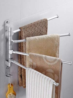Bathroom Shelves - Space Aluminum Bathroom Towel Rack Free Punching Rotating Bar Suction Wall Hanging Activity Toilet - Basket Wood Toilet Suction Brown In Sink Of Accessories Clear by Number onE (Image #1)