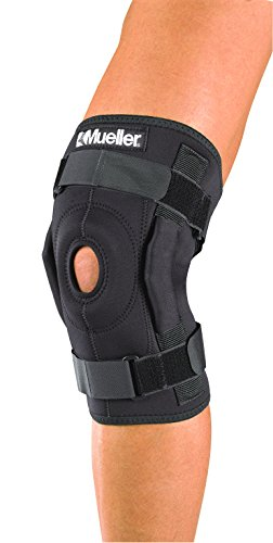 Mueller Sports Medicine Hinged Wraparound Knee Brace, Black, Regular (Packaging May Vary)