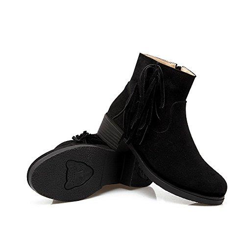 AllhqFashion Mujeres Cremallera Mini Tacón Gamuza(Imitado) Sólido Caña Baja Botas con Borlas Negro