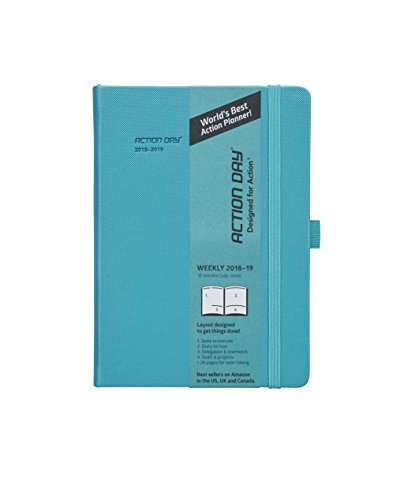 Action Day Academic Planner 2018-2019 - World's Best Goals & Action Layout That Gets Things Done & Increase Productivity - Daily, Weekly, Monthly, Yearly Organizer (6x8,Thread-Bound,Turqoise)