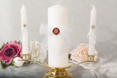 Military Wedding Unity Candle and Taper Set - Air Force - Navy - Army - Marines: Candle Set Color: White - Seal: Air Force by Wedding Collectibles