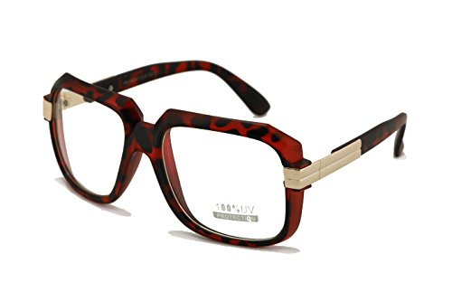1346f0fe0cb3 Large Matte Classic Retro Square Frame RUN DMC Clear Lens Glasses with  Metal Accent (Matte Tortoise) - Buy Online in Oman.