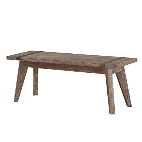 Distressed Oak Coffee Table (Emerald Home Viewpoint Driftwood Gray Bench with Metal Detailing)