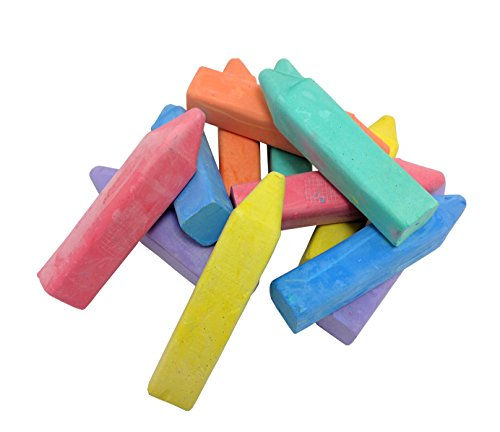 Ideas In Life Washable Sidewalk Chalk - Set of 12 Box Jumbo Fun Crayon Shape Pastel Indoor Outdoor Kids Chalk Sticks ()