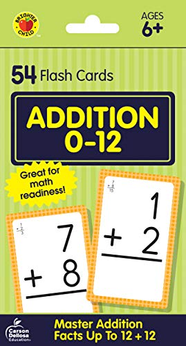 Carson Dellosa - Addition Flash Cards Facts 0 to 12 - 54 Cards with 100 Problems for 1st and 2nd Grade Math, Ages 6+ with Bonus Game Card ()