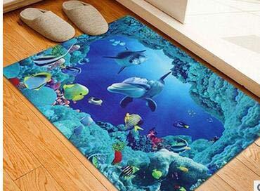 Fealay Bath Shower Mat Non-Slip Floor Rug 3D Realistic Funny Ground Mat Bath Carpet Doormat Foot Pad