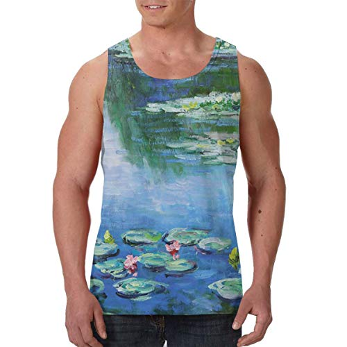 FANTASY SPACE Men's Boys Water Lilies Monet Painting Sleeveless Undershirt Summer Dry Compression Tank Top Comfort Soft Regular Fit Vests Golf Running Fast Dry Moisture WickingWorkwear ()