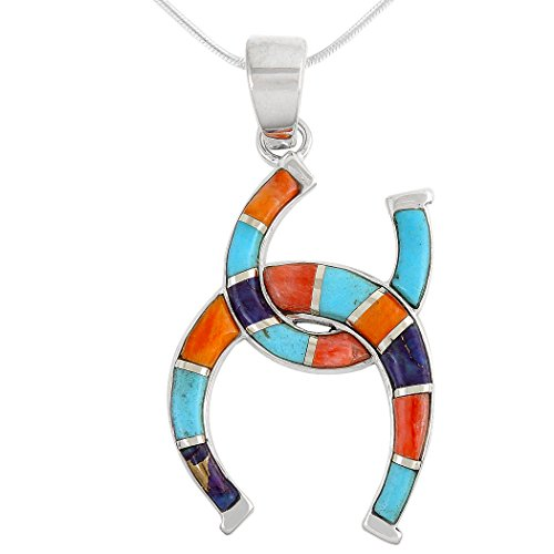 Turquoise & Gemstones Pendant Necklace in Sterling Silver 925 (SELECT Style) (Horseshoe) - Sterling Silver Multi Gem Pendant