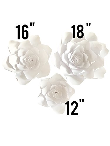 Paper Flower Petal Kit - White - 72 Piece Pack - Paper Flowers Decoration - Makes 3 Complete Flowers - DIY Do It Yourself - Peony (White)