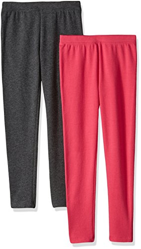 Amazon Essentials Little Girls' 2-Pack Cozy Leggings, Raspberry/Charcoal Heather, Small