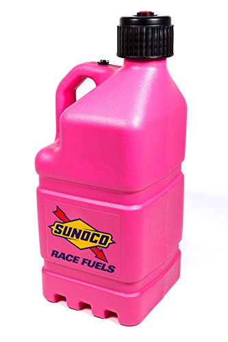 Sunoco Race Fuels 5 Gallon Racing Utility Jug with Deluxe Filler Hose Kit - Pink - Made in the USA R7100PKHOSE