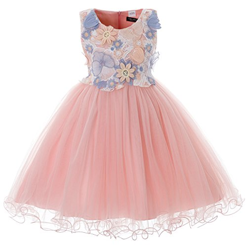 CIELARKO Girls Dress Kids Flower Lace Party Wedding Dresses (4-5 Years, (Party Dresses For Childrens)
