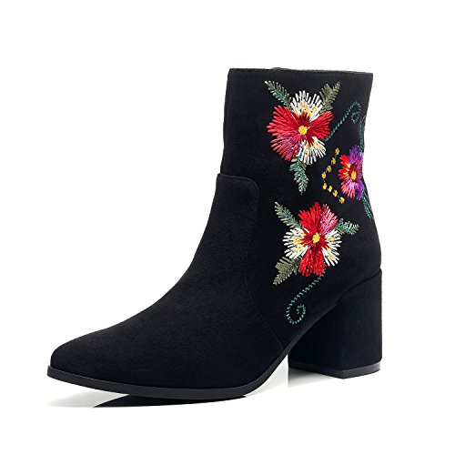 Dunion Womens Adolpha Floral Embroidered Zip Closure Chunky Heel Ankle Boot Adolpha Black 8 B M  Us
