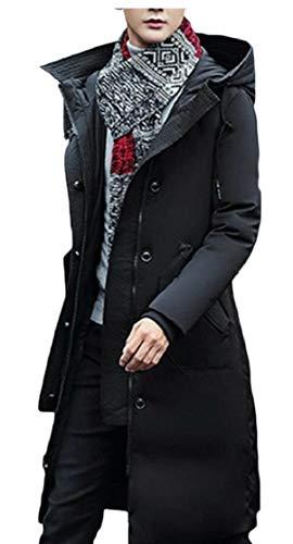 TTYLLMAO Men's Hooded Black Down Long Winter Thicken Outwear Jacket Parka Coat rdrxwSng1