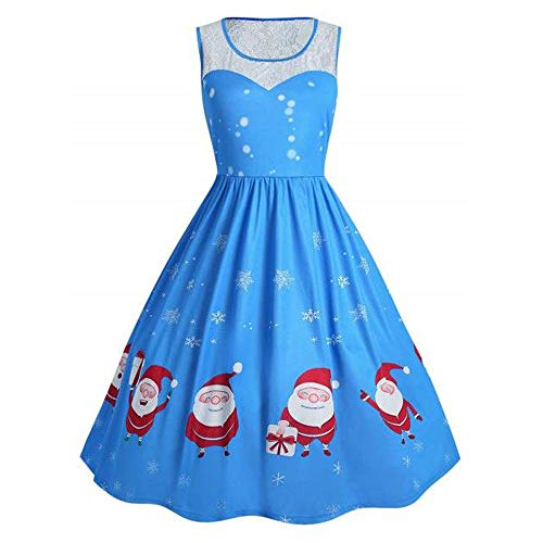 Claus Fashion Christmas s O Dress Sleeve Bodycon blue B Long Ursing Women Santa Dress Printed Neck f6ybY7g