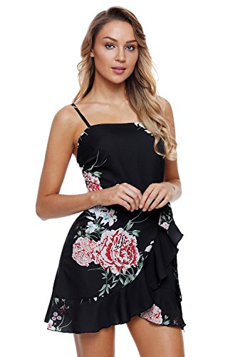 Black Sleeveless Hemline Ruffle Waist High BaronHong Floral Pleated Wrap Sundress ZzwqS0T