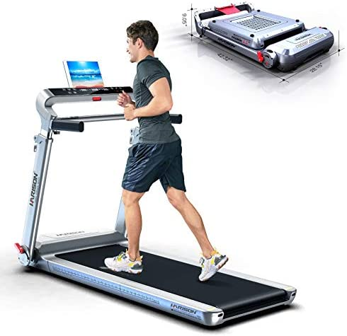 HARISON Folding Treadmill Portable Electric Running Machine 300 LBS Capacity with LCD Display, Device Holder and Adjustable Height for Home Cardio Workout 1