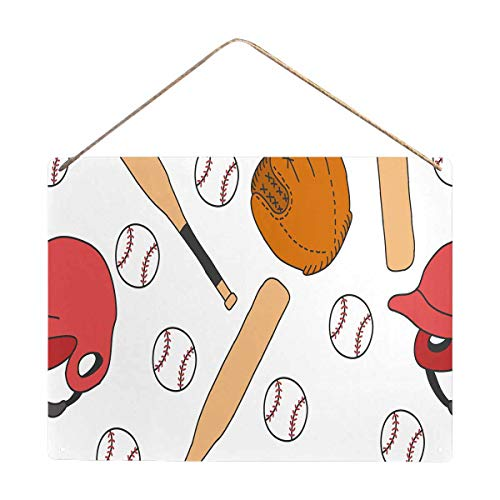 InterestPrint Doodle Baseball with Bats Art Wall Plaque Poster Decor Party ()