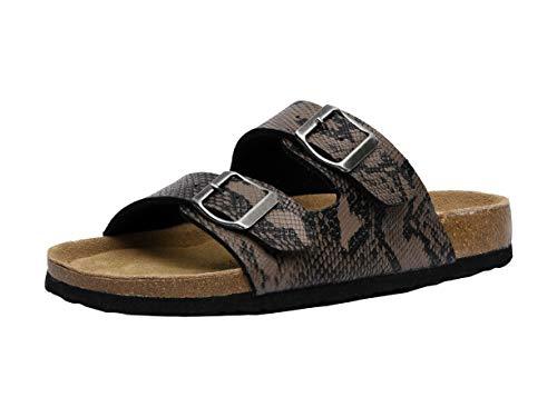 Dark Brown Snake - CUSHIONAIRE Women's Lane Cork Footbed Sandal with +Comfort, Brown Snake,9.5