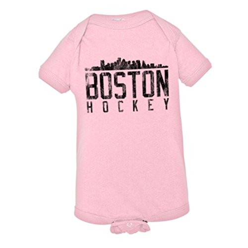 Boston Womens Pink T-shirt - PleaseMeTees Baby Boston Hockey Distresed Bruins Skyline Sports Jumpsuit-Pnk-6M