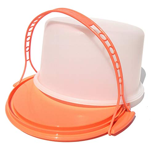 Tupperware Vintage Style 10 Inch Round Dome Cake Taker with Handle in Guava