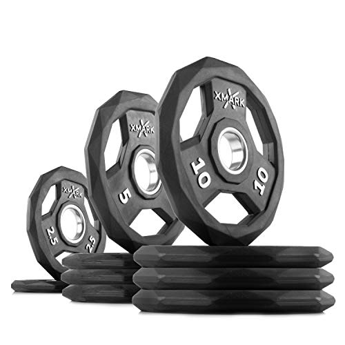 XMark Black Diamond 65 lb Set Olympic Weight Plates, One-Year Warranty, Patented Design