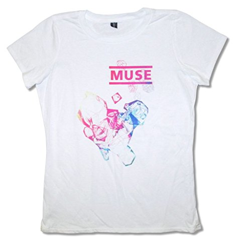 Muse Diamond Shapes White Juniors Slim Fit Baby Doll T Shirt (M)