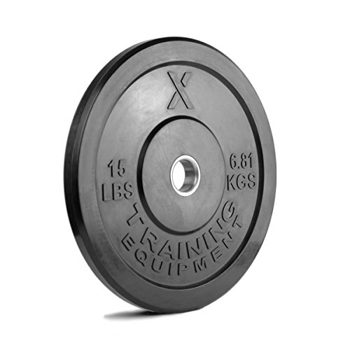 15lb Color Bumper Plate Pair Solid Rubber with Steel Insert - Great for Crossfit Workouts - (2 X 15 lb Pound Black Plates)