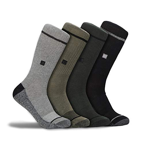 (WETSOX Work + Wear Socks- Arch Support, Moisture Wicking and Breathable for All Day Comfort (4 Pack, Crew)