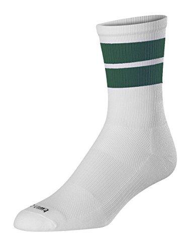 TCK Sports Motion 2 Stripe Crew Socks (White/Dark Green, X-Large) ()