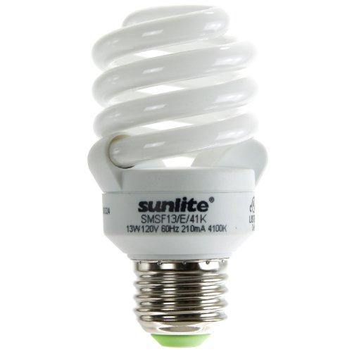 Mdt Lamp Bulb Light (Sunlite SMS13F/E/41K 13 Watt Super Mini Spiral Energy Star Certified CFL Light Bulb 4 Pack Medium Base Cool White)