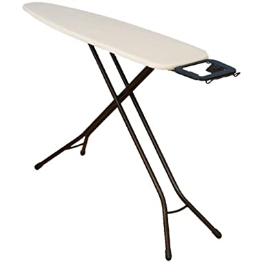 Household Essentials Fibertech Top Bronze Finish 4-Leg Ironing Board with Natural Cotton Cover