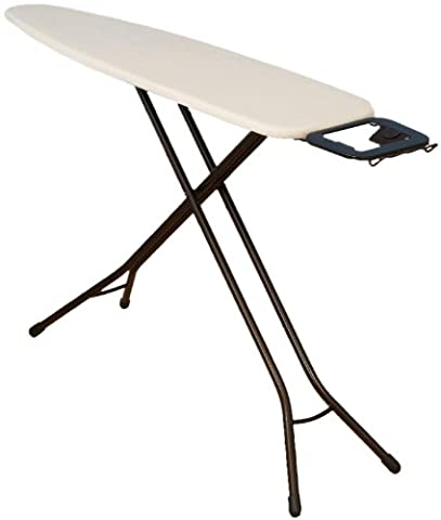 Household Essentials 814610-1 Classic Top 4-Leg Ironing Board with Iron Holder Stand- Natural Cotton Cover - - Hide Laundry Holder