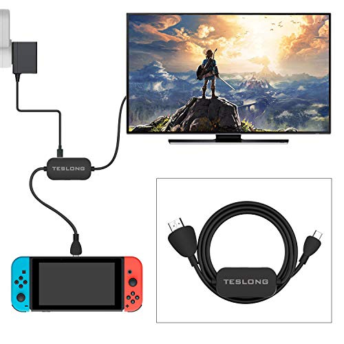 HDMI Cable for Nintendo Switch, Teslong USB C Adapter with 3.28ft HDMI Cable, HDMI Cable with Type C Charging Port for Nintendo Switch, MacBook Pro, Samsung S8/S9