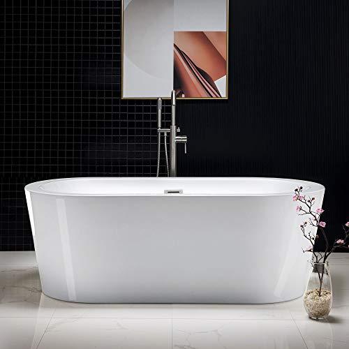 Woodbridge 67' Acrylic Freestanding Bathtub Contemporary Soaking Tub with Brushed Nickel Overflow and Drain, B-0002 / BTA1504