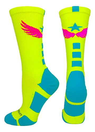 MadSportsStuff Light Speed Athletic Crew Socks (Neon Yellow/Electric Blue/Neon Pink, Medium)