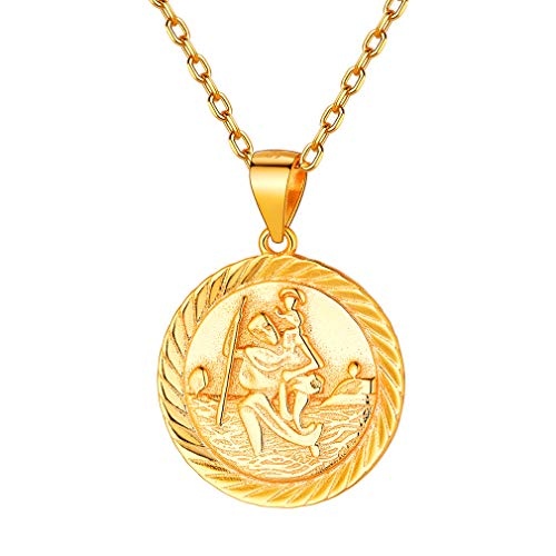 - Saint Christopher Pendant Necklace, FaithHeart 18K Gold St. Christopher Necklaces Jewelry (Gold)