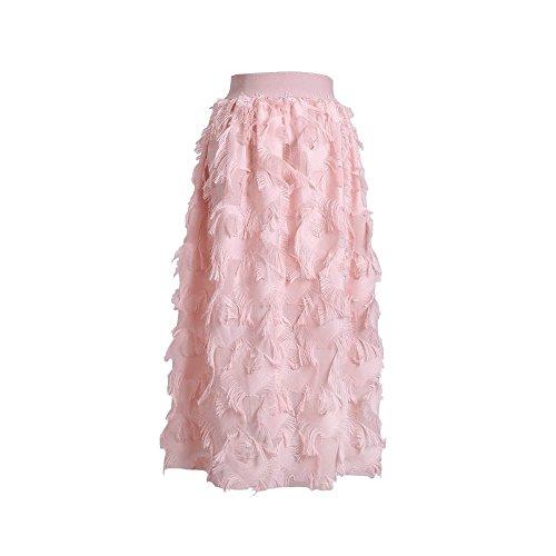 Ligne la Jupe FuweiEncore Femme Taille Jupe mi de Jupe Swing la la Rose lgante A de Femmes Plisse des Longue de Maxi ACFqngTC