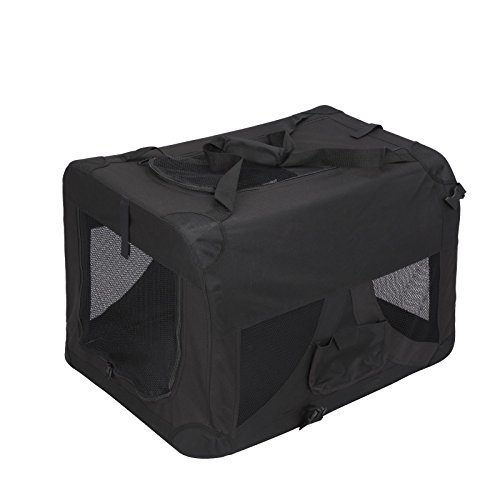 Magshion Folding Soft Crates Kennels Travel Carrier With Metal Frame, 32-Inch, For Pet Up To 50lb (Black)