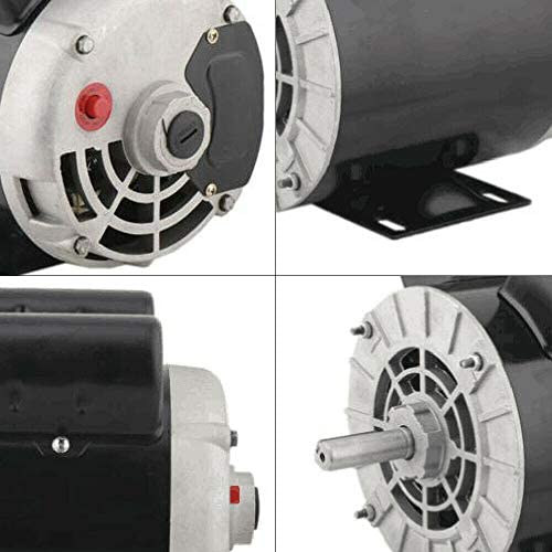 """41UBc4XIipL. AC Air Compressor Electric Motor 2 HP SPL 3450RPM Single Phase Electric Air Compressor Motor 120V/240V 56 Frame 5/8"""" Shaft    Specifications:【HIGH QUALITY MATERIAL】Air Compressor Electric Motor, made of high quality steel, rigid base, mounting bracket included, able to withstand harsh industrial applications. Equipped with UL approved manual thermal overload, capacitors and high quality ball bearings to ensure the lifetime.【POWERFUL AC MOTOR】Powerful AC motor, high starting torque, reduced starting amperage design to ensure the reduced voltage starting at rated load. Manual overload protection, totally enclosed fan, lubricated with low temperature grease. (Air Compressor Electric Motor, 2HP, SPL, 3450RPM, 56 Frame, 120V/240V, 15/7.5Amp, 5/8"""" Shaft, Single Phase.)【MAIN PARAMETERS 1】Power: 120V/240V 2HP; Speed: 3450RPM; Frequency: 60HZ; AMB 40°C; Frame: 56; Duty: Cont. Compressor; Service Factor: 1.0; Full Load Amps: 15/7.5; NS.CL: F; Single Phase; Open Drip Proof (ODP) Enclosure; Non-Reversible, CCW Rotation Facing Shaft; Thermally Protected; Manual Reset Overload Protection.【MAIN PARAMETERS 2】Overall Length W/O Shaft: 9.75""""; Overall Length With Shaft: 12.3""""; Overall Height: 8.5""""; Overall Width: 6.35""""; Shaft Diameter: 5/8""""; Shaft Length: 2.55""""; Standard Size Keyway: 3/16""""; Package size: 14'' x 11'' x 8''; Shipping weight: 25lb.【SPECIAL DESIGN】Open drip-proof is better used in environment that are relatively clean and dry environments. Special design for air compressor duty. Motor is non-reversible CCW(counter clockwise) only. (Default settings are default low-voltage current. If the need to use high-voltage current, please replace the use of high voltage wiring.)"""