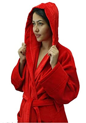 Hooded Terry Cotton Adult Bathrobe, Velour Terry Men's and Women's Robe, Red Color