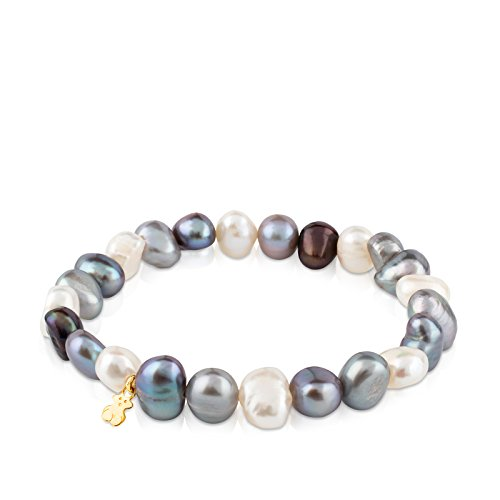 TOUS Sweet Dolls 18k Yellow Gold Stretch Bracelet with Multicolor Chinese Freshwater Cultured Pearl 7.0-7.5 ()
