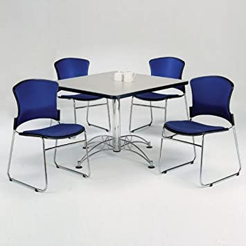 Amazoncom Breakroom Set Four Armless Fabric Stack Chairs And - Break room table and chair sets
