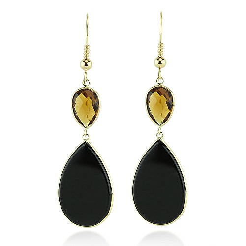 14K Yellow Gold Drop Earrings With Pear Shaped Black Onyx And Smoky Quartz Gemstones by amazinite