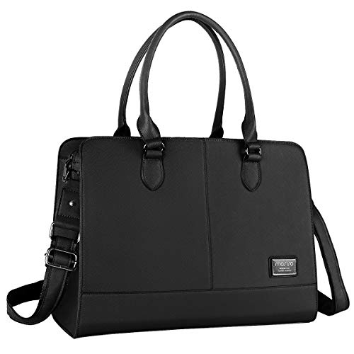 MOSISO Womens Laptop Bag (Up to 15.6 Inch), Briefcase for Women,PU Leather Large Capacity with 3 Layer Compartments Business Work Travel Tote Shoulder Handbag Compatible MacBook & Notebook, Black