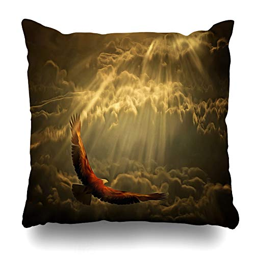 Ahawoso Throw Pillow Cover Sunset America Eagle Flies Cloudy Sky Rendering Fly American Bald Beam Bird Design Home Decor Cushion Case Square Size 16