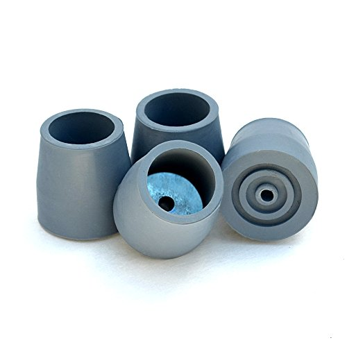 Top Glides Steel-Reinforced Walker, Commode, and Bath Bench Replacement Rubber Tips, Gray, 1